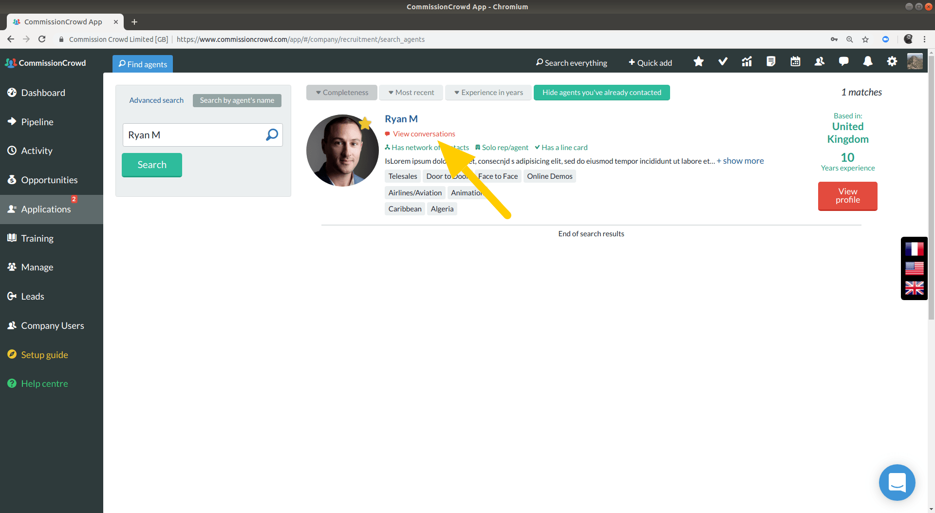 view conversations in agent search results